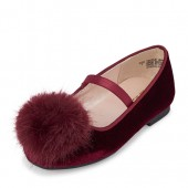 Toddler Girls Pom Pom Velvet Ballet Flats