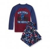 Boys Long Raglan Sleeve Here Comes The Hustle Football Top And Printed Pants PJ Set