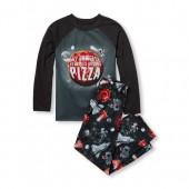 Boys Long Raglan Sleeve My Universe Revolves Around Pizza Top And Printed Pants PJ Set