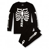 Unisex Adult Matching Family Long Sleeve Skeleton Top And Printed Pants Snug-Fit PJ Set