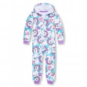 Girls Long Sleeve Unicorn Fleece One-Piece Sleeper