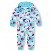 Girls Long Sleeve Panda Sky Fleece One-Piece Sleeper