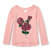 Baby And Toddler Girls Long Sleeve Keyhole Graphic Top