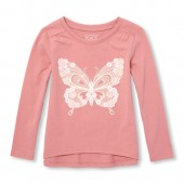 Baby And Toddler Girls Long Sleeve Graphic Hi-Low Top