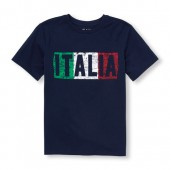 Boys Short Sleeve Italia Graphic Tee