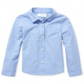 Toddler Girls Uniform Long Sleeve Solid Oxford Button-Down Shirt
