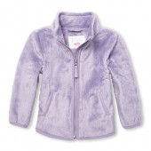 Baby And Toddler Girls Mock Neck Faux Fur Jacket