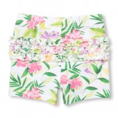 Baby Girls Printed Ruffle Knit Shorts