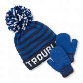 Toddler Boys 'Trouble' Striped Beanie And Mittens Set