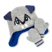Toddler Boys Dog Hat And Mittens Set
