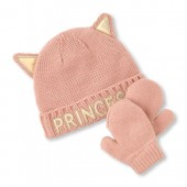 Toddler Girls Holographic Princess Cat Hat And Mittens Set