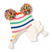 Toddler Girls Pom Pom Rainbow Hat And Mittens Set