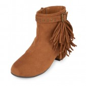 Girls Faux Suede Fringe Booties