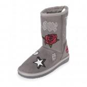 Girls Glitter Patch Boots