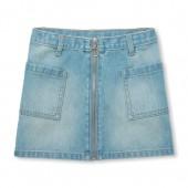 Girls Zip-Up Denim Skirt