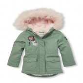 Baby And Toddler Girls Glitter Patch Faux Fur Hooded Parka Jacket