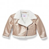 Baby And Toddler Girls Rose Gold Faux Sherpa Lined Moto Jacket
