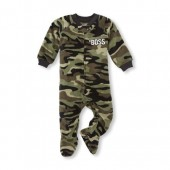 Baby And Toddler Boys Long Sleeve Hashtag Boss Camo Footed Blanket Sleeper