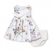 Baby Girls Sleeveless Floral Print Dress And Bloomers Set