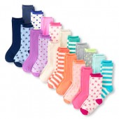 Girls Solid And Printed Crew Socks 20-Pack