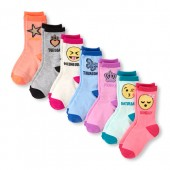 Girls Days-Of-The-Week Emoji Crew Socks 7-Pack