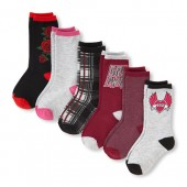 Girls Rose Printed Crew Socks 6-Pack