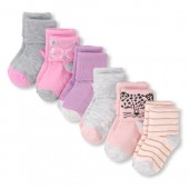 Toddler Girls Critter Turn-Cuff Socks 6-Pack