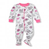 Baby And Toddler Girls Long Sleeve Printed Snug-Fit Footed Stretchie