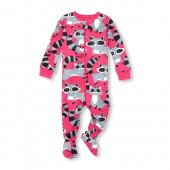 Baby And Toddler Girls Long Sleeve Raccoon Print Snug-Fit Footed Stretchie