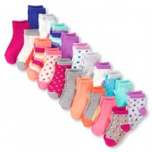 Toddler Girls Solid And Printed Midi Socks 20-Pack