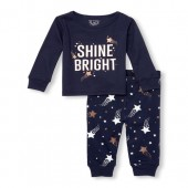 Baby And Toddler Girls Long Sleeve Glitter Shine Bright Top And Printed Pants Snug-Fit PJ Set