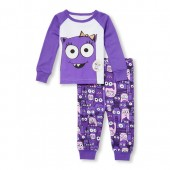 Baby And Toddler Girls Long Sleeve Glitter Little Monster Of The Family Glow-In-The-Dark Top And Printed Pants Snug-Fit PJ Set