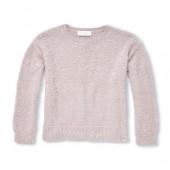 Girls Long Sleeve Faux Pearl Metallic Eyelash Sweater