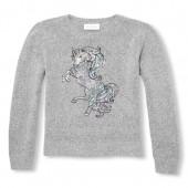Girls Long Sleeve Sequin Graphic Metallic Sweater