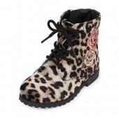 Toddler Girls Leopard Print Patch Velvet Ginger Boot