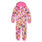 Girls Long Sleeve Emoji Print Fleece One-Piece Sleeper