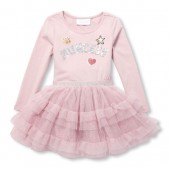Baby And Toddler Girls Long Sleeve Sequin Princess Patch Knit-To-Woven Ruffle Dress