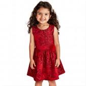Baby And Toddler Girls Sleeveless Red Metallic Jacquard Dress