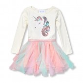 Baby And Toddler Girls Long Sleeve Sequin Unicorn Knit-To-Woven Tutu Dress