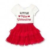 Baby And Toddler Girls Short Sleeve Glitter Little Miss Valentine Knit-To-Woven Tutu Dress