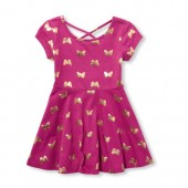 Baby And Toddler Girls Foil Butterfly Print Criss-Cross Back Knit Dress