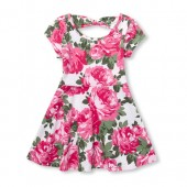 Baby And Toddler Girls Rose Print Cut-Out Bow Back Knit Dress