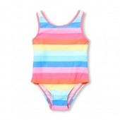 Baby And Toddler Girls Rainbow Stripe Criss-Cross Back One-Piece Swimsuit
