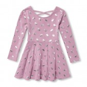Baby And Toddler Girls Long Sleeve Foil Crown Print Cutout Back Knit Dress