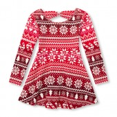 Baby And Toddler Girls Long Sleeve Christmas Printed Cut-Out Back Knit Dress