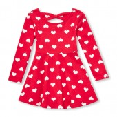 Baby And Toddler Girls Valentines Day Long Sleeve Heart Print Bow Back Knit Dress