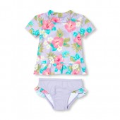 Baby And Toddler Girls Short Sleeve Floral Print Rashguard And Ruffle Bottoms Two-Piece Swimsuit