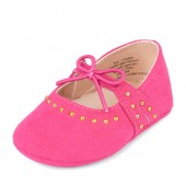 Baby Girls Studded Tie-Top Faux Suede Ballet Flat