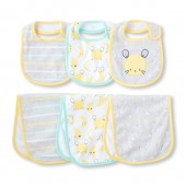 Unisex Baby Moon And Mouse Bib And Burp Cloth 6-Pack