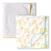 Unisex Baby Mouse And Moon Swaddle Blanket 2-Pack